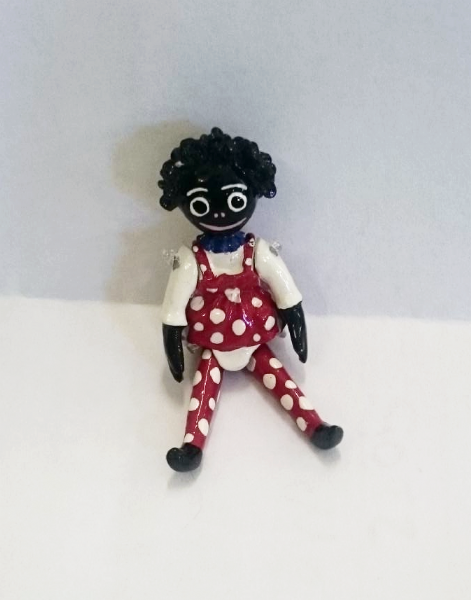 Minnie Maria Girl Golly in red. Handmade pewter Miniature.